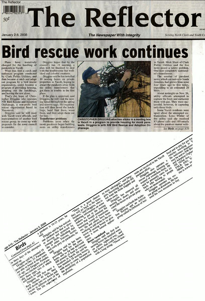 2008 January 2nd The Reflector Bird Rescue work Continues