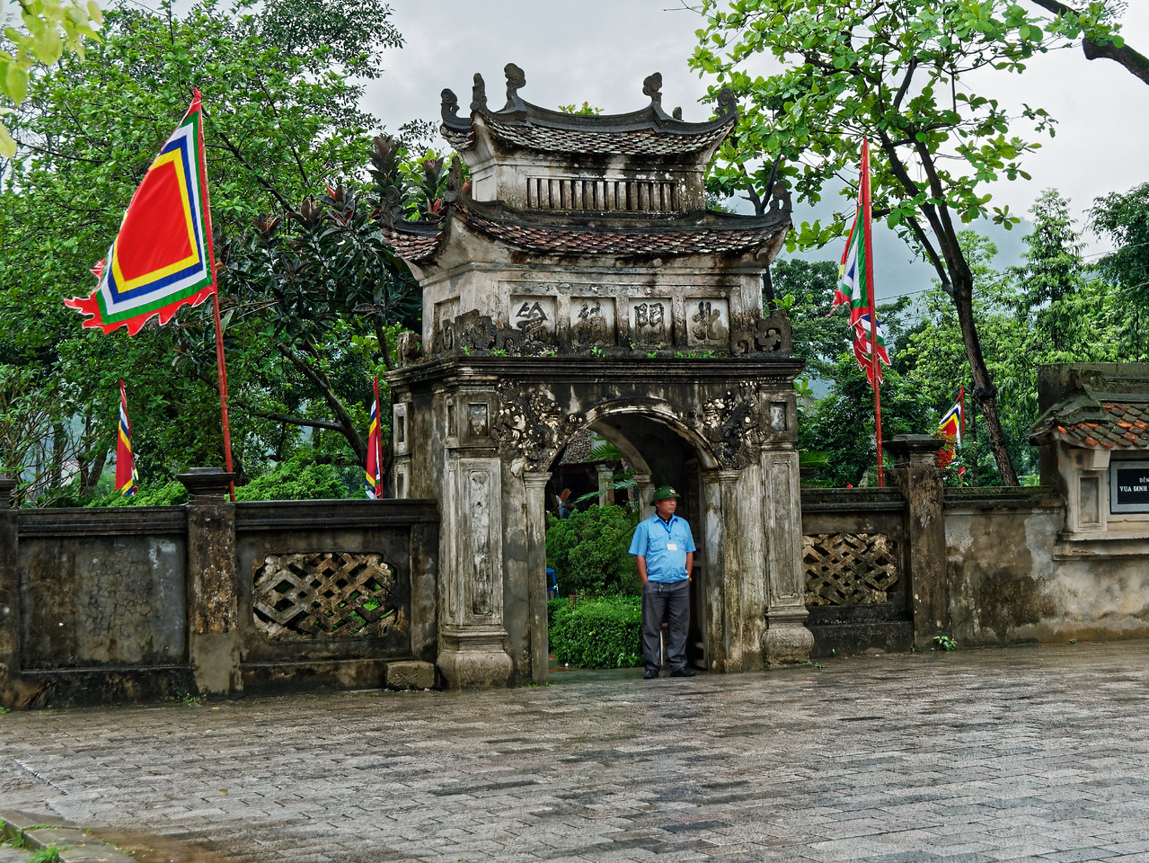 The entry pavilion at Dinh Temple on a drizzly morning