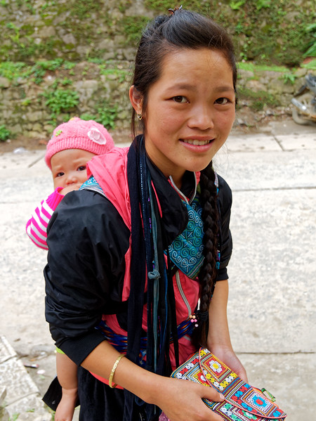 Young hill tribe woman and her baby