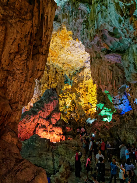 On Dau Go Island an 80-foot climb (via steps) leads from sea level to Thien Cung Grotto or 'Heavenly Cave,' considered one of the most beautiful caves in Halong Bay. Its picturesque stalactites and stalagmites would be fascinating enough without the garish lighting — which nonetheless does make for colorful photos!