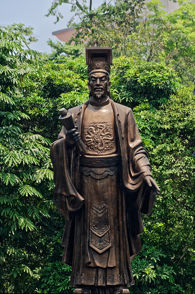 Ly Thai To, founder of Hanoi, who ruled as emperor of both the Dai Co Viet Dynasty and the Ly Dynasty, 1009–1028. The bronze statue stands near Hanoi's Hoan Kiem Lake.