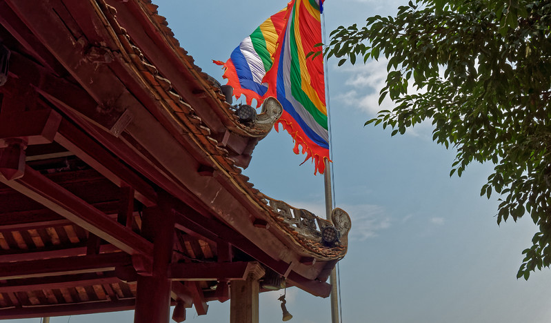 The flag of the city of Hanoi, displayed at Ngoc Son Temple