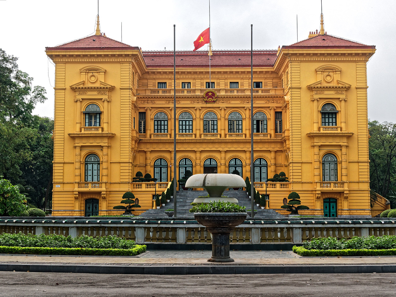 The French-Colonial style Presidential Palace, under construction from 1900 to 1906, was originally built to accommodate the Governor General of Indochina.