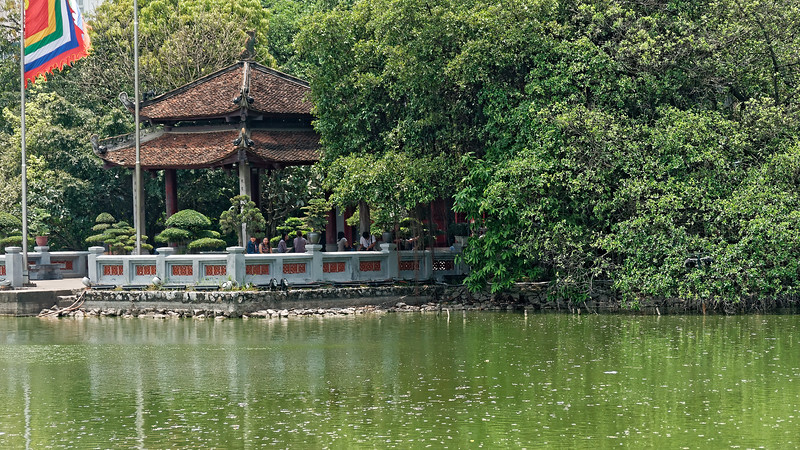 Ngoc Son Temple sits on a small island at the northern end of Hoan Kiem Lake. The name translates as 'Temple of the Jade Mountain,' and the island it is on is called Jade Island.
