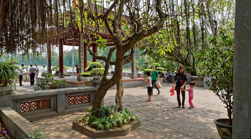 Ngoc Son Temple grounds