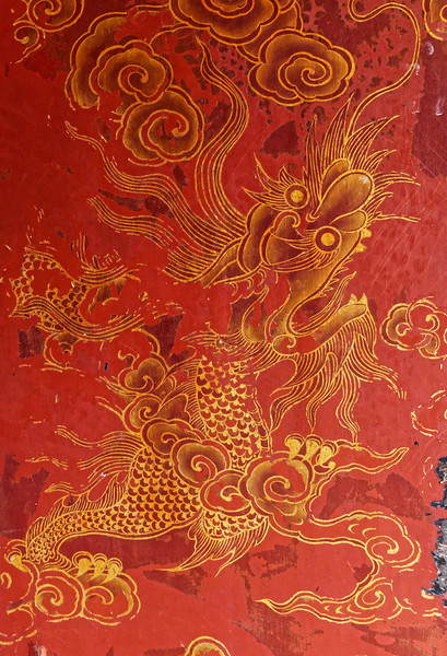 Decorative dragon detail on a column at the Temple of Literature