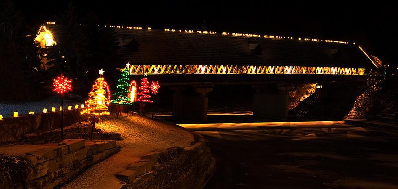 Covered Bridge at Christmas, Frankenmuth, Michigan