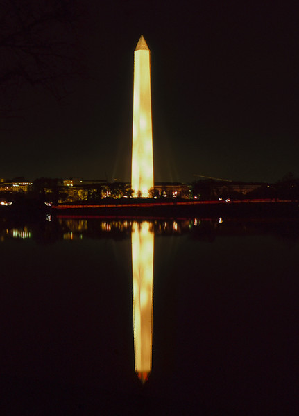 Washington Monument nighttime reflection