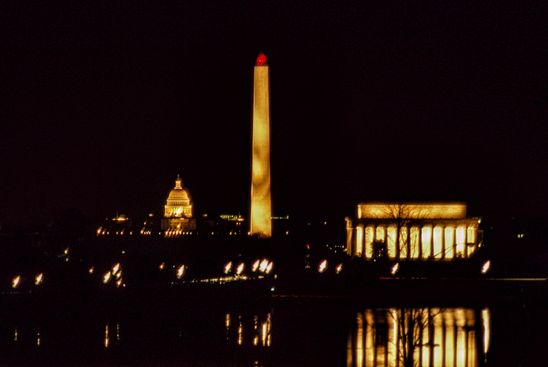 Monuments and Capital, nighttime reflection