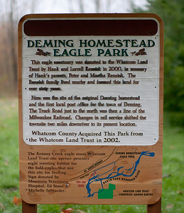 Sign at the entrance to Deming Homestead Eagle Park