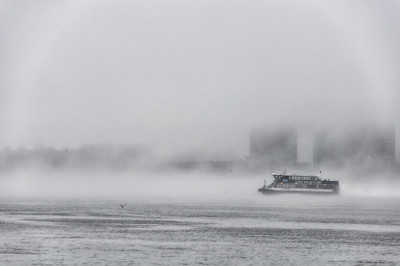 Fog, East River, New York City