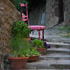 Pink chair in Cortona, Italy