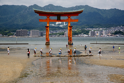 The torii gate at the Itsukushima shrine in Japan