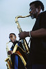Father and Son Playing Saxophones ca. July 2001