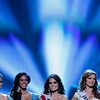 Finalists, Miss Philippines Venus Raj, left, Miss Jamaica Yendi Phillips, Miss Mexico Jimena Navarrete, Miss Ukraine Anna Poslavska and Miss Puerto Rico Mariana Paola Vicente, right, compete in the the Miss Universe pageant, Monday, Aug. 23, 2010 in Las Vegas. (AP Photo/Isaac Brekken)
