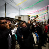 Musicians perform during Saint Bartolome Day celebrations in San Bartolome Milpas Altas, some 35 km west of Guatemala City, Tuesday, Aug. 24, 2010. (AP Photo/Rodrigo Abd)