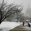 "A pedestrian walks in the snow outside of Capitol Hill in Washington on Friday, Feb. 5, 2010. The region's second snow storm in less than two months could be ""extremely dangerous,"" and heavy, wet snow and strong winds threatened to knock out power, the National Weather Service said. (AP Photo/Jose Luis Magana)"
