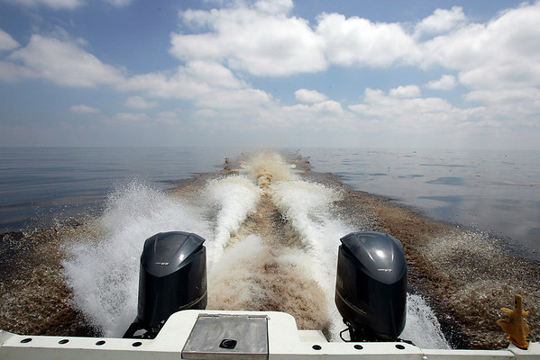 Oil is kicked up in the wake of a boat as it sails on the Gulf of Mexico southwest of the Southwest Pass of the Mississippi River on the coast of Louisiana, Thursday, May 6, 2010. Oil has spread 40 miles west-southwest of the Mississippi River and 25 miles southeast of Port Fourchon, La. (AP Photo/Patrick Semansky)
