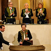 Simone Veil, dressed in the French Academician's uniform of a black jacket embroidered in green laurel leaves, delivers her speech at the Institut de France in Paris, Thursday March 18, 2010. The name of Simone Veil, now 82, is synonymous with the battle that she spearheaded to legalize abortion in France. She has twice served as minister, for health and social affairs, and became the first woman president of the European Parliament. Veil, a French political icon who survived Nazi death camps and went on to become a moral figurehead for France, was inducted Thursday into the Academie Francaise, the sixth woman to cross the portals of the centuries-old institution. Atop center is Jean d'Ormesson , and at right top Helene Carrere d'Encausse. (AP Photo/Philippe Wopjazer, Pool)