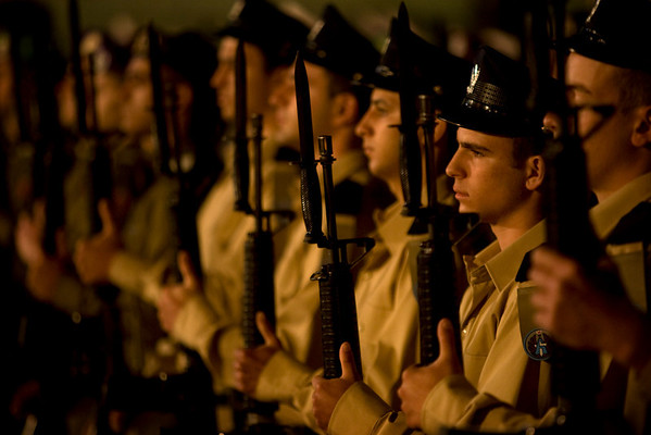 Soldiers from an Israeli military honor guard stand at attention during a service marking Memorial Day at the Western Wall, Judaism's holiest site in Jerusalem's Old City, Sunday, April 18, 2010.  Israelis marked Memorial Day starting Sunday evening in remembrance of the nation's fallen soldiers. (AP Photo/Sebastian Scheiner)