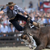 A gaucho, or cowboy, is thrown from a horse as he competes in a rodeo in Montevideo, Saturday, April 3, 2010. Every year during Holy Week, gauchos show their skills and compete for the title of best rider. (AP Photo/Matilde Campodonico)