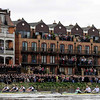 The Cambridge boat, right, races against  the Oxford boat during the 156th running of the Boat Race, London, Saturday April 3, 2010. On race day up to 250,000 spectators crowd the banks of the Thames from Putney to Mortlake to witness the race. (AP Photo/Tom Hevezi)