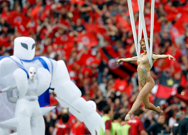 Artists perform before the Heineken European Cup final rugby union match between Toulouse and Biarritz Olympique at the Stade de France stadium in Saint-Denis, outside Paris, Saturday, May 22, 2010. (AP Photo/Christophe Ena)