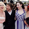 From left, actress Mimi Le Meaux, director Mathieu Amalric, actress Evie Lovelle and actress Kitten on the Keys arrive for the awards ceremony at the 63rd international film festival, in Cannes, southern France, Sunday, May 23, 2010. (AP Photo/Joel Ryan)