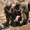 Israeli border policemen drag an international activist during a protest against the construction of Israel's separation barrier in the West Bank town of Beit Jala, near Bethlehem, Sunday, May 23, 2010. Israel says the barrier is needed for security, but Palestinians consider it a land grab.(AP Photo/Nasser Shiyoukhi)