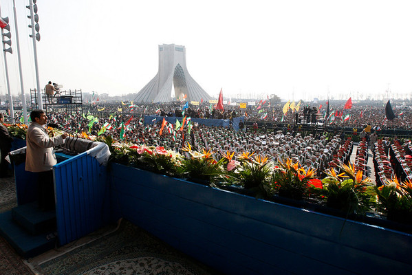Iranian President Mahmoud Ahmadinejad, left, speaks at a rally commemorating the anniversary of the 1979 Islamic Revolution, at the Azadi (freedom) Sq. in Tehran, Iran, Thursday, Feb. 11, 2010. Authorities banned foreign media in Iran from covering the pro-reform protests, while allowing them to cover the official anniversary ceremonies, including Ahmadinejad's speech, but there is a ban on covering opposition protests.  (AP Photo/Vahid Salemi)