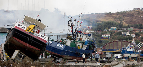 Boats sit along the coast in Talcahuano, Chile, Monday, March 1, 2010. An 8.8-magnitude earthquake struck central Chile early Saturday causing widespread damage. (AP Photo/ Natacha Pisarenko)