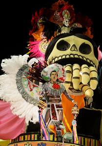 A dancer of Viradouro samba school performs on a float during carnival celebrations at the Sambadrome in Rio de Janeiro, Monday, Feb.15, 2010. (AP Photo/Martin Mejia)