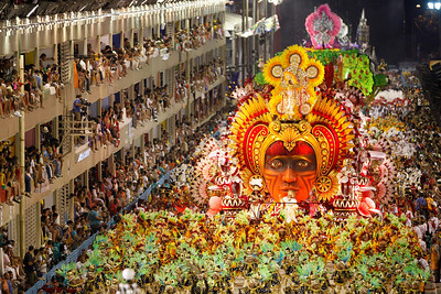 Members of Salgueiro samba school parade during carnival celebrations at the Sambadrome in Rio de Janeiro, early Monday, Feb.15, 2010. (AP Photo/Felipe Dana)