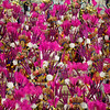 Dancers perform on an Uniao da Ilha samba school float during carnival parade at the Sambadrome, in Rio de Janeiro, Sunday, Feb. 14, 2010. (AP Photo/Felipe Dana)