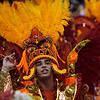 A member of Imperatriz samba school parades during carnival celebrations at the Sambodrome in Rio de Janeiro, early Monday, Feb. 15, 2010. (AP Photo/Silvia Izquierdo)