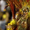 A member of Unidos da Tijuca samba school performs during carnival celebrations at the Sambodrome in Rio de Janeiro, early Monday, Feb. 15, 2010. (AP Photo/Felipe Dana)