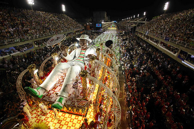 Members of Grande Rio samba school parade during carnival celebrations at the Sambadrome in Rio de Janeiro, early Tuesday, Feb. 16, 2010.  (AP Photo/Martin Mejia)