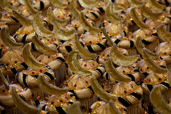 Carnival hats sit in the workshop of the Uniao da Ilha samba school in Rio de Janeiro, Wednesday, Feb. 3, 2010.  Carnival is celebrated from Feb. 12-16.  (AP Photo/Felipe Dana)
