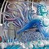 A man works on a carnival float from the Grande Rio samba school in Rio de Janeiro, Wednesday, Feb. 3, 2010.  Brazil celebrates carnival Feb. 12-16.  (AP Photo/Felipe Dana)