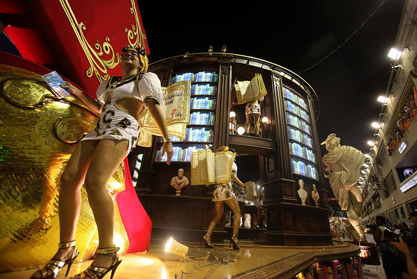 Members of Salgueiro samba school perform on a float during carnival celebrations at the Sambadrome in Rio de Janeiro, early Monday, Feb.15, 2010. (AP Photo/Martin Mejia)