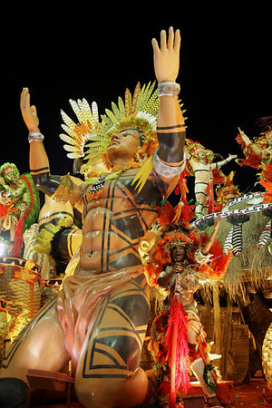 Members of Imperatriz samba school parade during carnival celebrations at the Sambodrome in Rio de Janeiro, early Monday, Feb. 15, 2010. (AP Photo/Silvia Izquierdo)