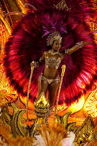 A member of Salgueiro samba school performs during carnival celebrations at the Sambadrome in Rio de Janeiro, early Monday, Feb.15, 2010.  (AP Photo/Felipe Dana)