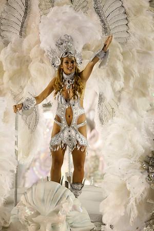 A member of Imperatriz samba school parades during carnival celebrations at the Sambodrome in Rio de Janeiro, Monday, Feb. 15, 2010. (AP Photo/Felipe Dana)