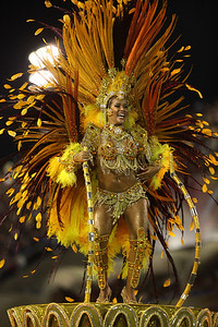A member of Unidos da Tijuca samba school parades during carnival celebrations at the Sambodrome in Rio de Janeiro, early Monday, Feb. 15, 2010. (AP Photo/Martin Mejia)