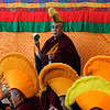 Tibetan spiritual leader the Dalai Lama wears a traditional hat of the Gelugpa Buddhist sect as he leads a prayer session marking the beginning of the Tibetan New Year at the Tsuglakhang temple in Dharmsala, India, Sunday, Feb. 14, 2010. (AP Photo/Ashwini Bhatia)