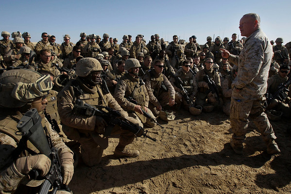 U.S. Marine Brigadier General Larry Nicholson speaks to U.S. Marines from the 2nd MEB, 3rd Battalion, 6th Marines at Belleau Wood outpost outside Marjah in Afghanistan's Helmand province Tuesday, February 9, 2010. (AP Photo/David Guttenfelder)