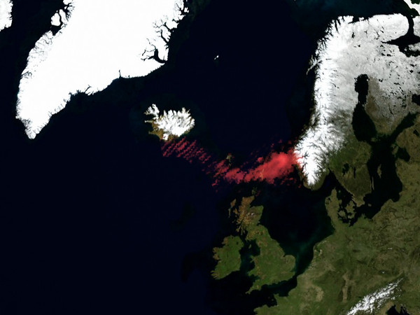 This image provided by NOAA shows the volcanic plume, from Wednesday's eruption of a volcano beneath Iceland's Eyjafjallajokull glacier. Using sulfur dioxide concentration data from the NASA Aura/OMI satellite sensor, it shows smoke, ash, and other components that can cause aircraft jet engines to fail. The OMI sensor can distinguish the differences between cloud, smoke, dust, ozone and other aerosols, and is important in Earth observations for aviation safety. (AP Photo/NOAA)