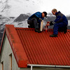 Iceland_Volcano_LON142.JPG Men wrap a house vent in plastic film Friday April 16 2010 near Myrdalssandur, some 220km east of the capital Rejkavik, Iceland to prevent the entry of airborne volcanic ash. The Eyjafjallajokull  glacier volcano began erupting for the second time in a month on Wednesday, sending ash several miles (kilometers) into the air. Winds pushed the ash plume south and east across Britain, Ireland, Scandinavia and into the heart of Europe. ( AP Photo/Brynjar Gauti )