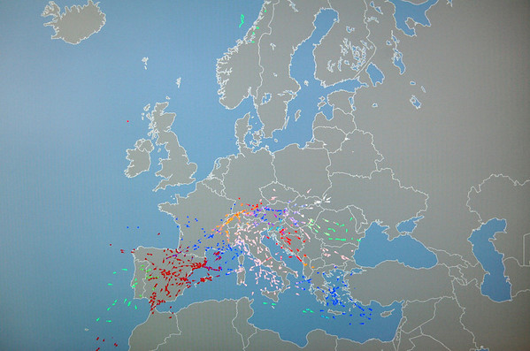 In this photo of a computer display at the European air navigation agency Eurocontrol, colored dots representing aircraft in flight in European airspace, graphically represents flight restrictions in place for air traffic across northern Europe caused by an ash cloud spewing from a volcano in Iceland, seen at top left of map, which has resulted in the cancellation of thousands of flight, in Brussels, Friday, April 16, 2010. The highly abrasive, microscopic particles that make up volcanic ash pose a threat to aircraft because they can affect visibility and get sucked into airplane engines, causing them to shut down. (AP Photo/Yves Logghe)