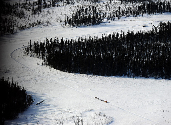 Mitch Seavey heads down the Iditarod  trail from Nikolai to McGrath, Alaska, on Tuesday, March 9, 2010 during the 2010 Iditarod Sled Dog Race. (AP Photo/Anchorage Daily News, Bob Hallinen)